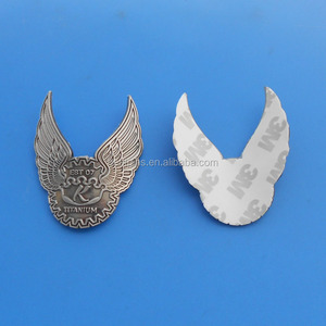 Titanium Motorcycle Bike Sticker Badge, Wing Shape Bike Head Tube Emblem