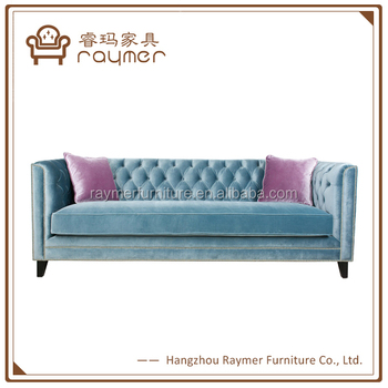 Antique Luxury Blue Tufted Crystal Crushed Velvet Chesterfield Sofa