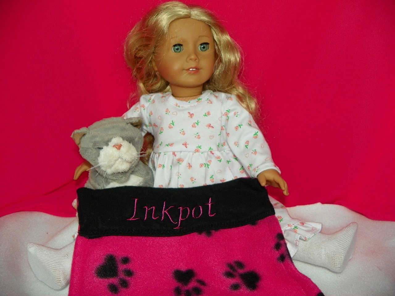 American Girl Doll Pet Kitty INKPOT: Personalized Paw Print Design Blanket