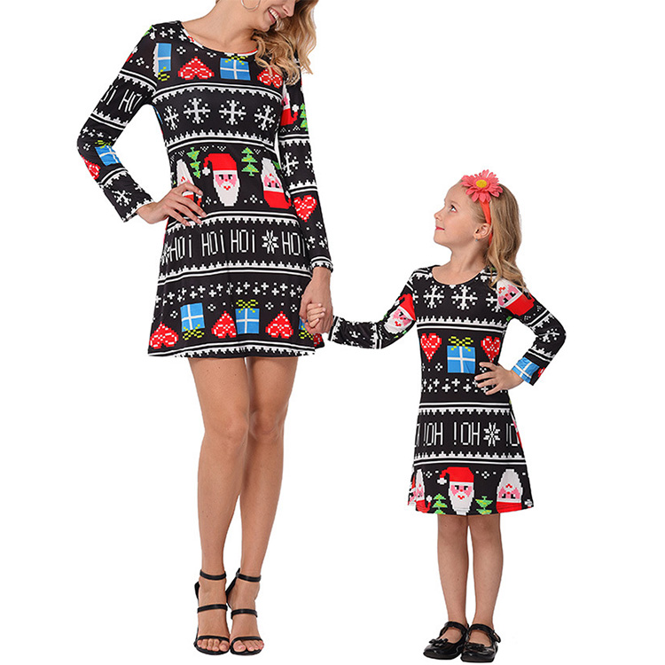 b4b5f6042 Matching Clothes Outfits Christmas Dress Child Girls Women Dresses for  Mother and Daughter
