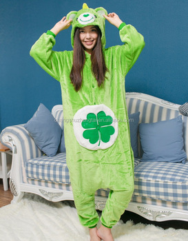 ae6ab8fcfb9 Green Four-leaf Jumpsuit Clover Lucky Care Bear Pajamas Adult Women Men  Unisex Onesie Hooded
