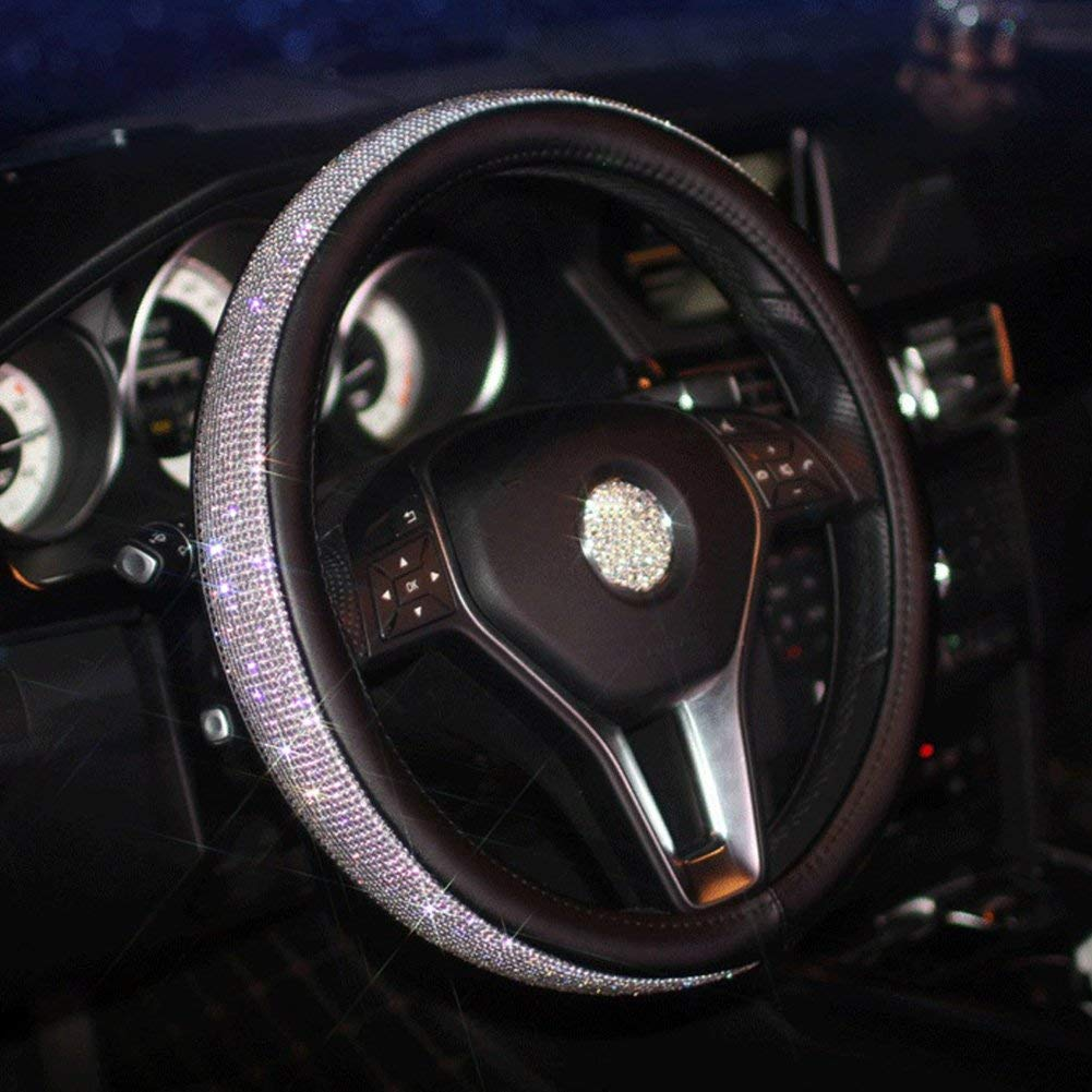 Carfond PU Leather Cystal Steering Wheel Cover, with Bling Bling Rhinestones 15 inch Black/siilver