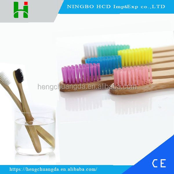 High quality biodegradable bamboo charcoal fiber bristles wood toothbrush