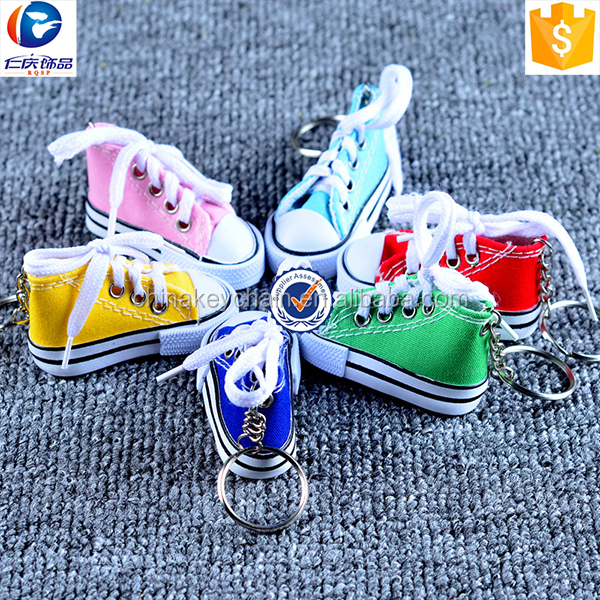 New promotion cute 3D mini canvas sneaker shoe keychain ,sneaker key chain with split ring