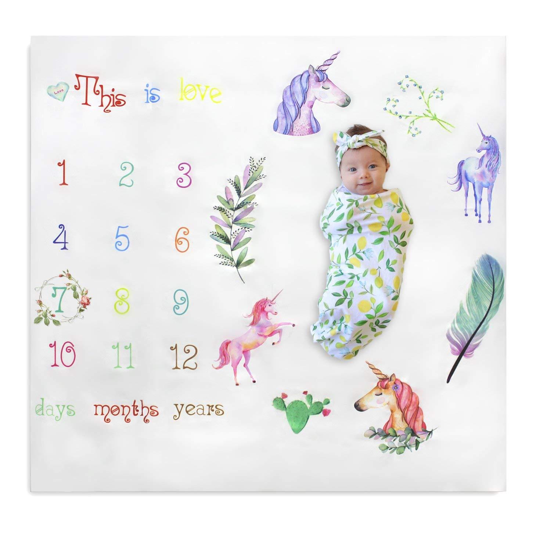 NinkyNonk Baby Monthly Milestone Blanket Personalized Unicorn Baby Photo Blanket Newborn First Year Photography Blanket Backdrop Props for Boys Girls