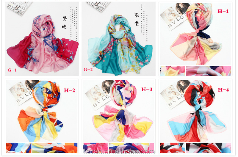 Long scarf digital print custom design manufacturing 100% wholesale china scarf silk scarf