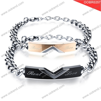 Hollow Customized Design couple stainless steel chain bracelet