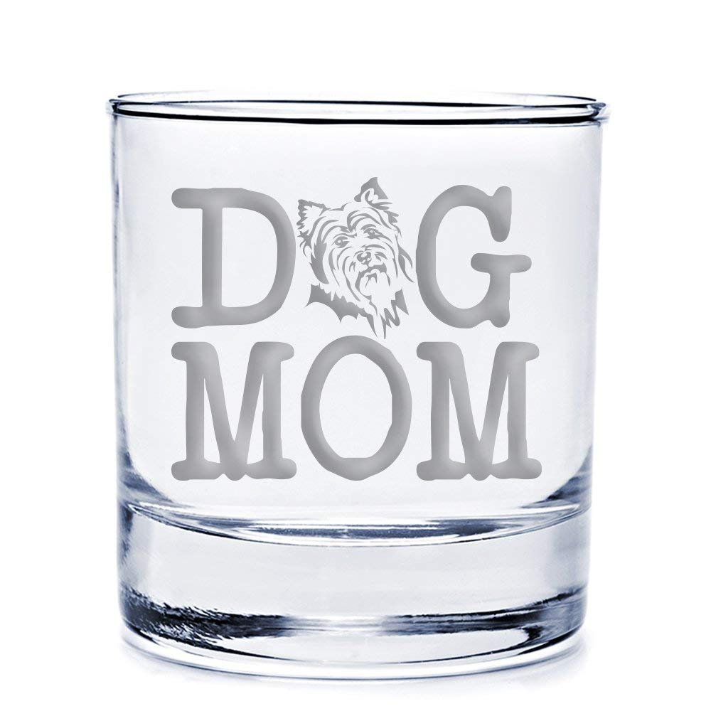 Dog Mom Yorkshire Terrier Engraved 10-ounce Rocks Glass