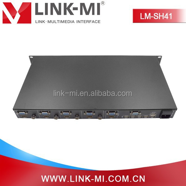 LINK-MI LM-SH41 4x1 1080p HD Video Synthesize Control Software HDMI with good quality HDMI/VGA/CVBS /USB input signal 640x480