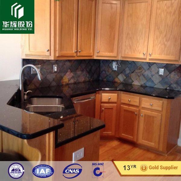 India Cheap Price Laminated Black Galaxy Granite Kitchen Countertop