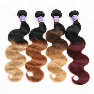 Unprocessed body wave Ombre Virgin hair braiding color hair, Wholesale Ombre hair weave