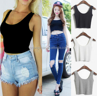 OEM Wholesale CUSTOM 7Colors WOMEN LADIES SCOOP NECK CROPPED BELLY TOP SLEEVELESS FITTED TEE STRETCHY PLAIN CROP TOP