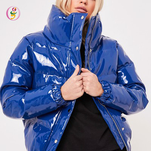 blue high shine vinyl puffer coat woman jacket quilted jacket cool padded winter wear women coats down jackets