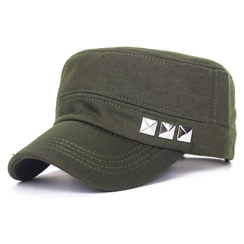 258b0bec8 Get Quotations · Mens Military Hats Flat Cap Classic Rivet Cotton Knitted  Fabrics Plain Vintage Army Cadet Patrol Cap