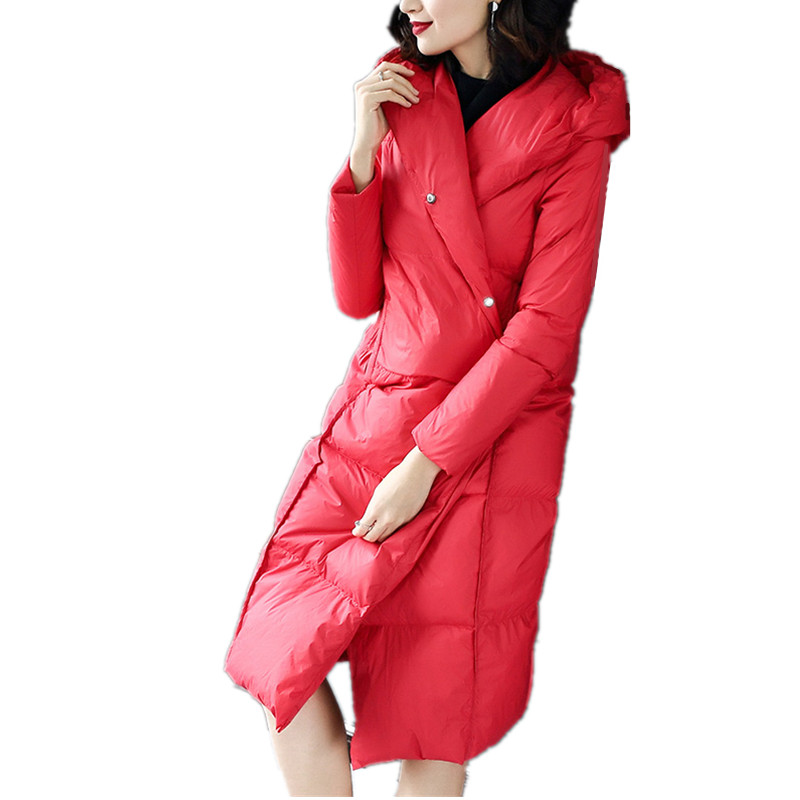 Ladies Red Sexy Hollister 80/20 Hooded Winter Classic Long Goose Duck Down Feather Clothing Coat Parka Jacket For Women