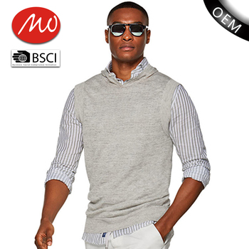 Wholesale Pullover Knitting Pattern Cheap Men Sweater Vest With Hood