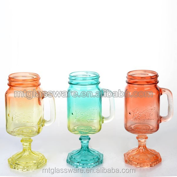 gradient style monogram mason jar glass with stand lid and straw
