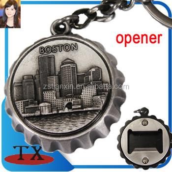 Usa Boston Souvenir Bottle Cap Shape Bottle Opener Keychain - Buy ...