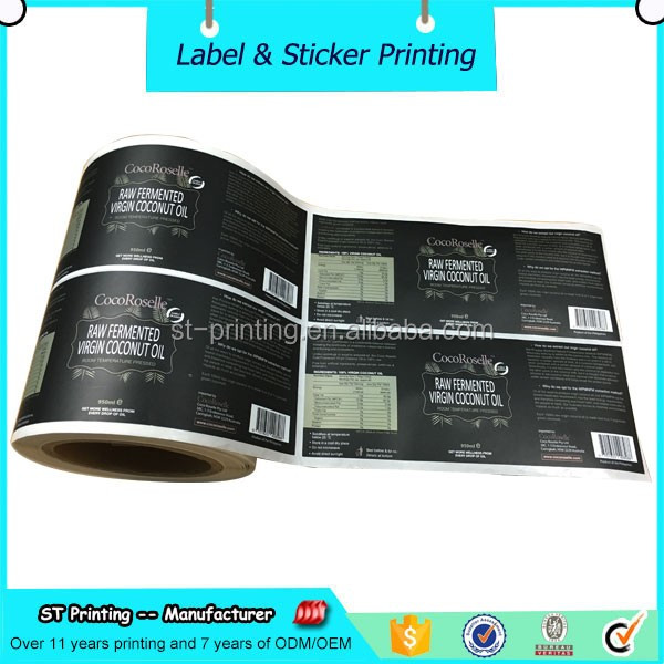 Coconut oil matte laminated stickers packaging labels roll for bottle