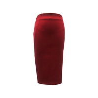 Fashion Collection Polyester Spandex Ladies Formal Office Wear Midi Length Back Slit Red Color Pencil Skirt with Back Zipper