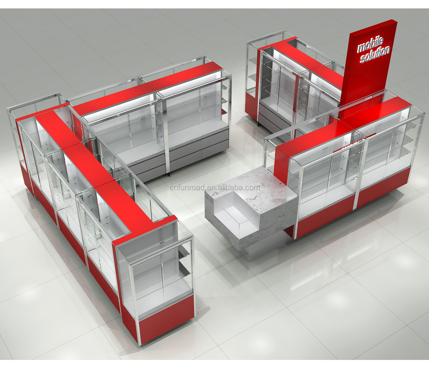 Cell phone accessory kiosk design 3x4m shopping mall phone kiosk design