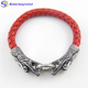 2018 Men Fashion Jewelry Three Colors Snakeskin Leather 2 Dragon Heads Snap Ring Mens Leather Bracelet