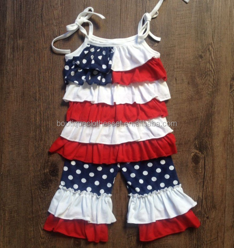 2017 latest patriotic day outfits icing ruffle baby 2 pcs outfits 4th of july wholesale ruffle boutique
