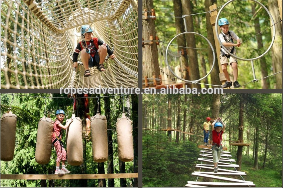 Kids climbing structure, children exploring sport park facilities, outdoor rope climbing structure
