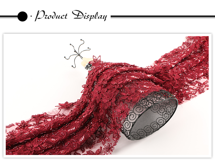 High quality fancy color customized ready goods embroidered 3d lace fabric beads bridal