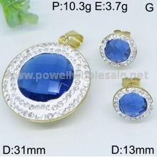 Lovely Girl Jewelry Trendy new design gold filled diamond blue stone pendant and earring sets jewelry for wemen
