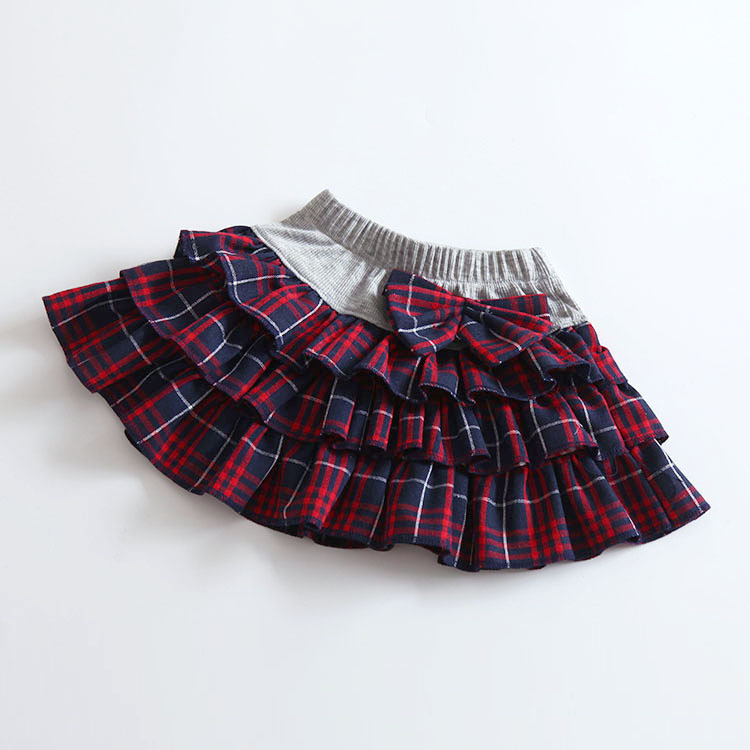 B21879A Autumn wholesale fashion skirt Korea Plaid children's skirt