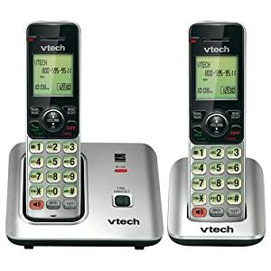 VTech Holdings, Ltd Vtech Cs6619-2 Dect 6.0 Expandable Cordless Phone With Caller Id/call Waiting, Silver With 2 Handse