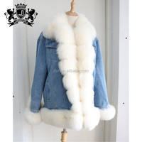 Fashion warm winter denim jackets women parka with fox fur trim