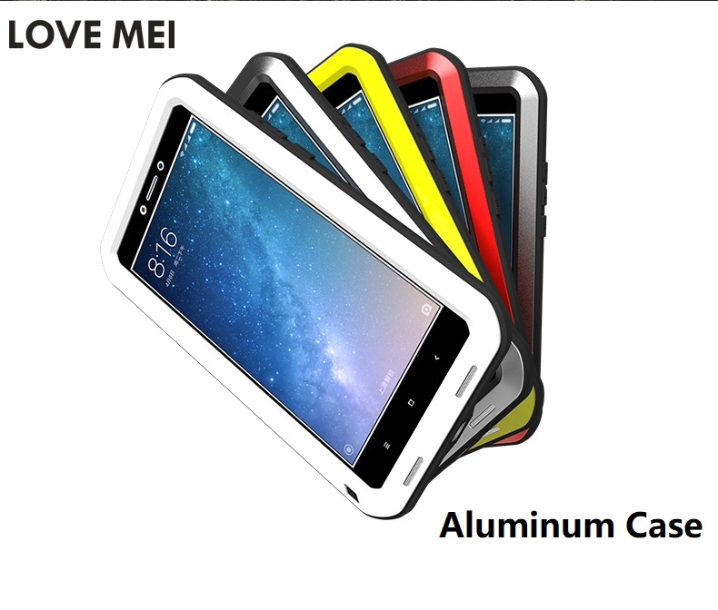Love Mei Aluminum Waterproof Water Proof Case For Xiaomi Mi 3 4 5 6 Mi3 Mi4 Mi5 Max 2 Mix Note 2 Max2 Note2 Redmi Note Cover