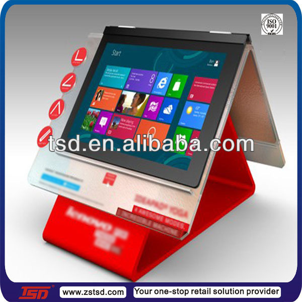 TSD-A421 Tablet display holder /laptops retail sign holder/plexiglass stand for Touchscreen Ultrabook