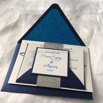digital printed wedding invitations navy blue shiny card with blue glitter paper invitations - Customized Wedding Invitations