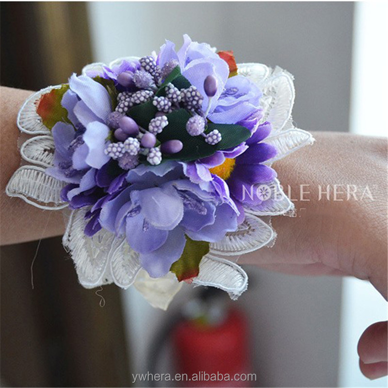 Sweet 4 different colours wrist flower corsage for girls