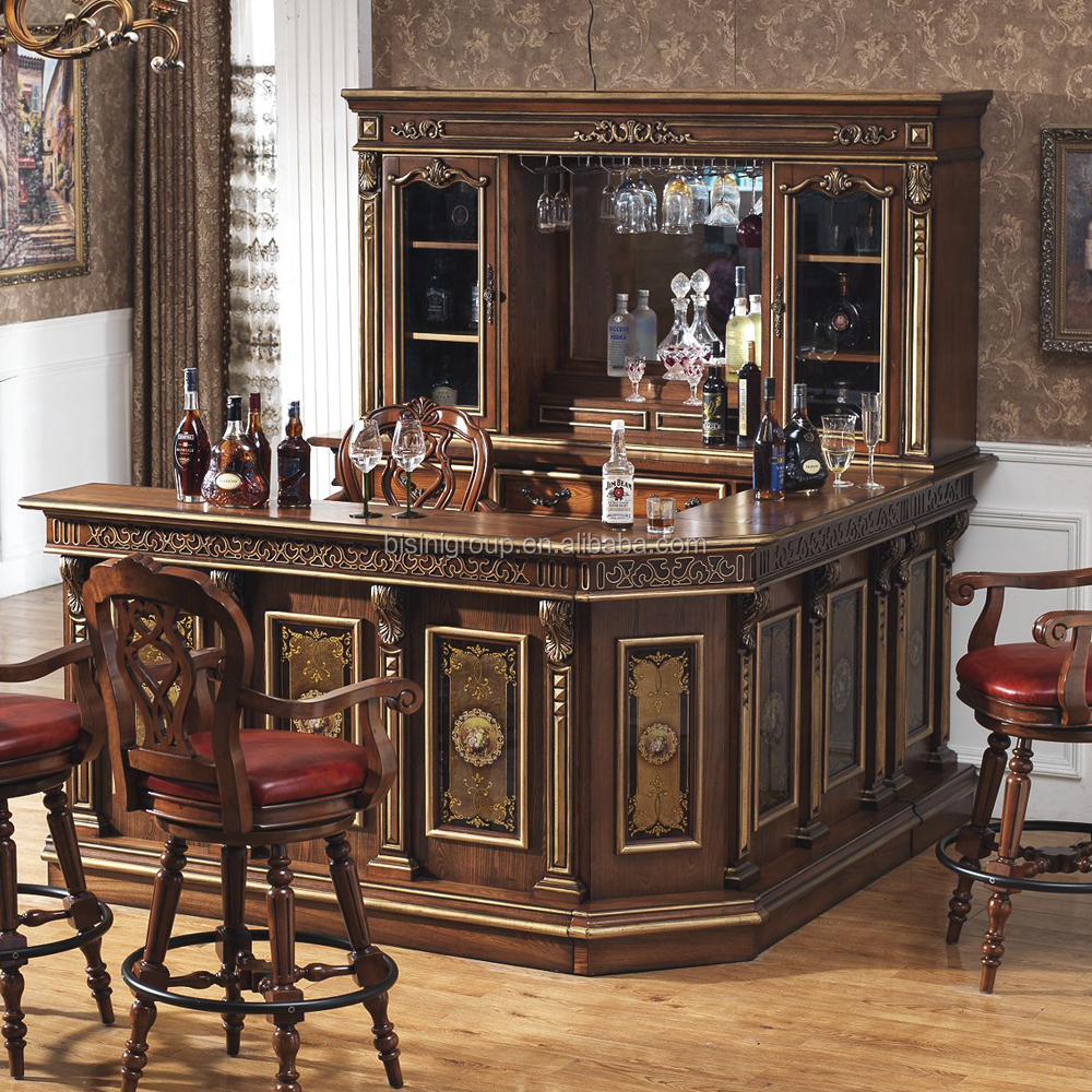 Home Bar Counter: American Countryside Style Bar Counter Set Wooden Wine