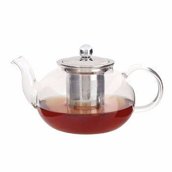 Hot Selling Borosilicate Small Glass Teapot With Stainless Steel Infuser