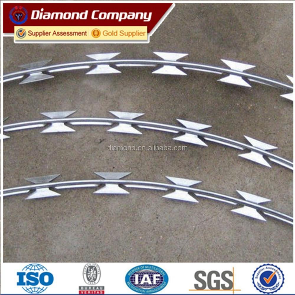 Galvanized Barbed Razor Wire /cbt-65 Flat Razor Barbed Wire Fence ...