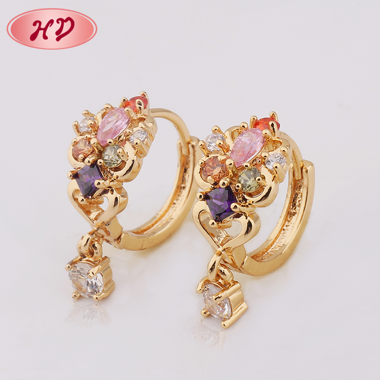 Shiny Single Stone Gold Jhumka Earrings Design With Price Buy
