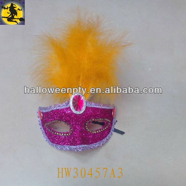 Plain Plastic Venetian Carnival Masks with Feather