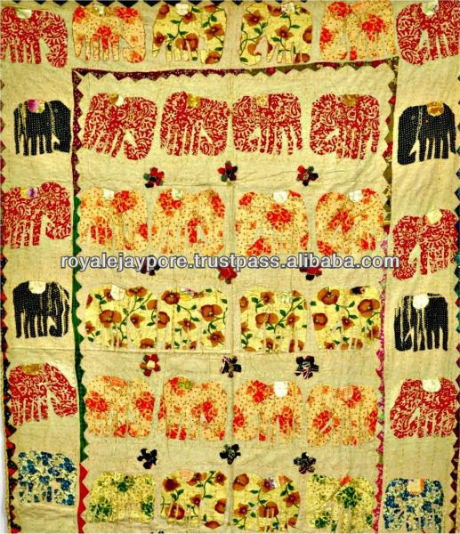 Elephant Patchwork Hand Applique Work Kantha Quilt Throw Kid's Bed ...