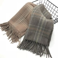 Warm 100% graceful cashmere feeling type tartan wool shawl winter fancy scarf with tassels