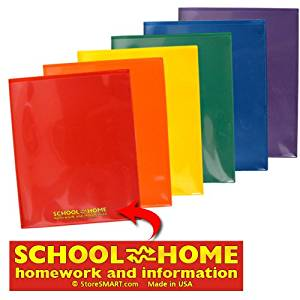 StoreSMART - Plastic School / Home Folders Archival Folders - Primary Colors 72 Pack - 12 Each of Six Bright Colors (SH900PCP72ENG)