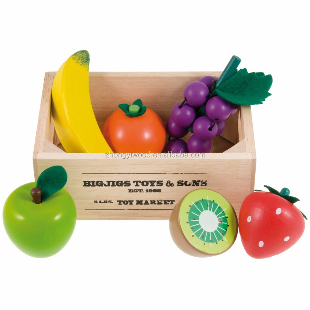 Small wooden storage box for the toys of fruit and vegetable