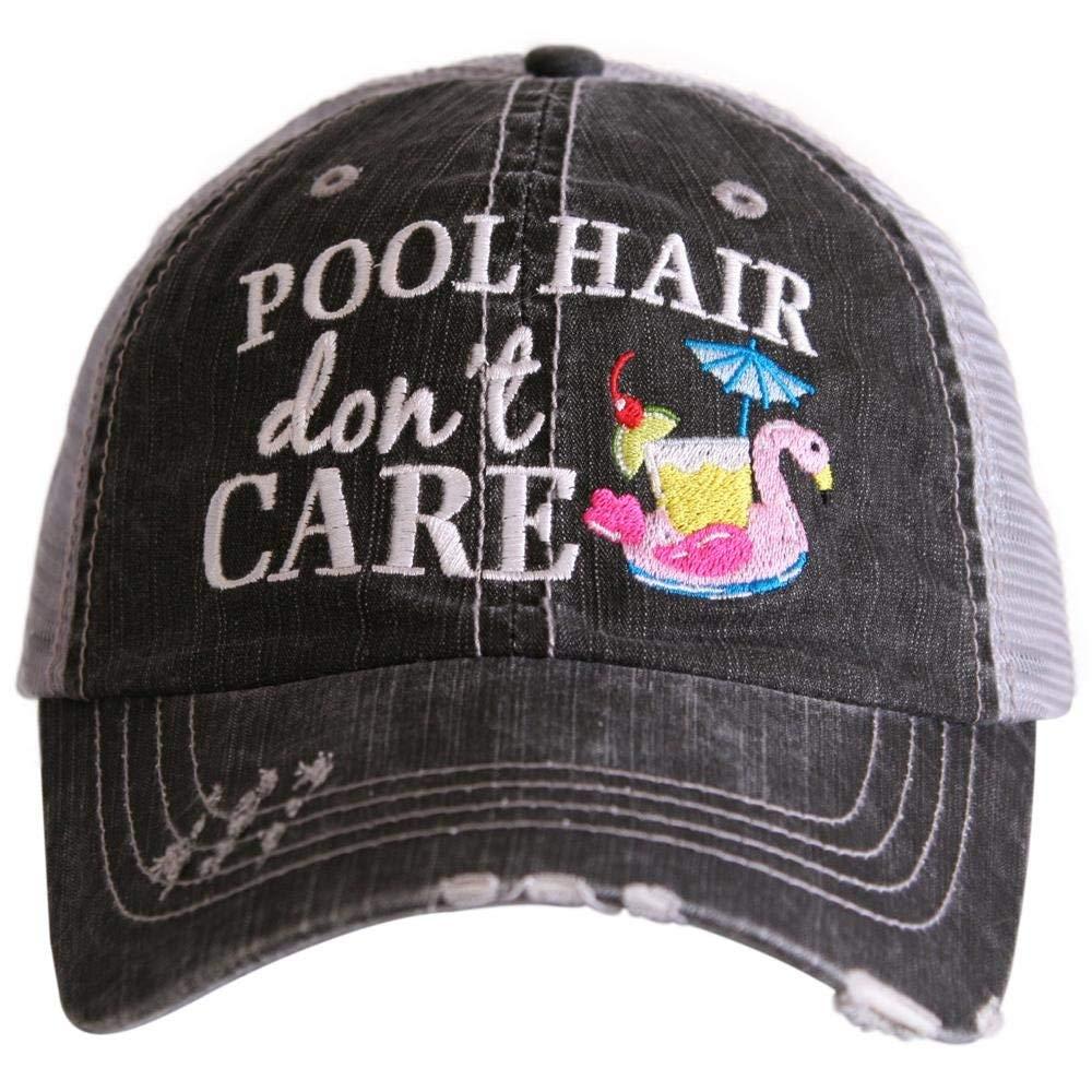 Katydid Pool Hair Don't Care Swan Float Women's Baseball Hats Caps