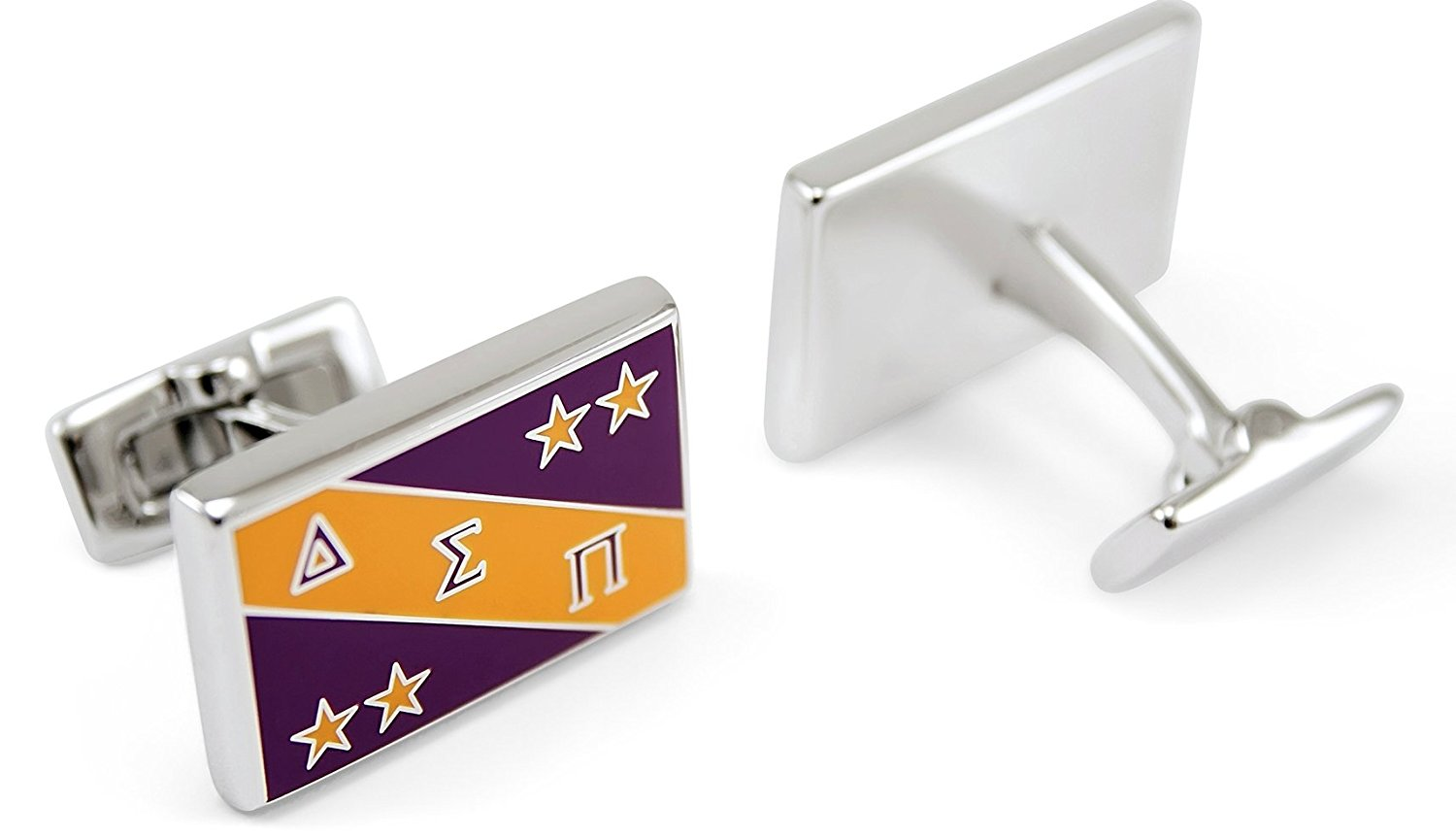 Delta Sigma Pi Fraternity Flag Cuff Links with Colored Enamel