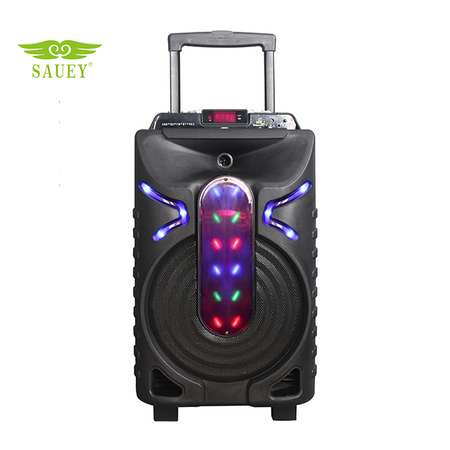 12 inch portable trolley speaker with wheels and battery