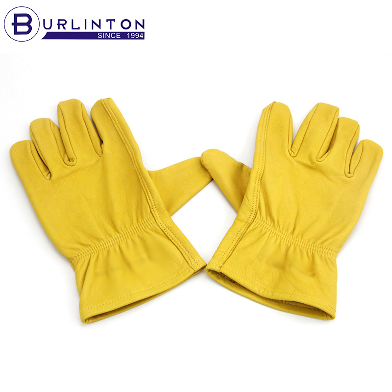 Genuine leather double palm soft goat skin working gloves